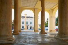 Montagnana, Italy - August 25, 2017: A building with columns on the central square of the city. royalty free stock image