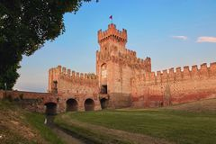 Montagnana, Italy - August 25, 2017: The fortress wall of the city in the evening. royalty free stock image