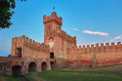 Montagnana, Italy - August 25, 2017: The fortress wall of the city in the evening. royalty free stock photography