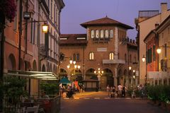 Montagnana, Italy - August 6, 2017: Illuminated The streets of the old city at night sometimes. stock photography