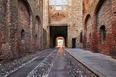 Montagnana, Italy - August 25, 2017: West Gate The fortress wall of the city in the evening. stock image