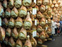 Guided tour inside a ham factory on the occasion of the annual f. Montagnana, Italy. May 20, 2018: Guided tour inside a ham factory on the occasion of the annual stock images