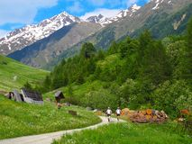 Montagne alpine delle alpi della valle di viaggiatori con zaino e sacco a pelo dei camminatori delle viandanti Fotografia Stock Libera da Diritti