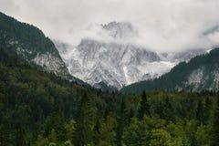 Montagne alpine nuvolose, Slovenia Immagine Stock