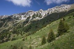 Montagne alpine ricoperte neve Immagini Stock Libere da Diritti