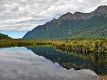 Montagne attraverso un lago mirror immagine stock libera da diritti