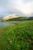 Montagne avec l'arc-en-ciel images libres de droits