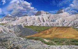 montagne Bianco-gialle di Ustyurt Fotografia Stock Libera da Diritti