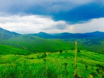 Montagne bleue et verte Photos stock