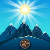 Montagne bleue réaliste sous le vecteur lumineux du soleil Photos stock