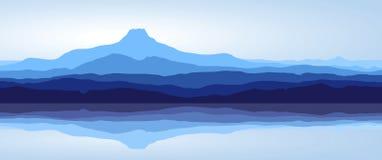 Montagne blu con il lago - panorama