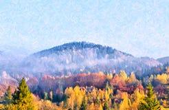Montagne carpatiche in autunno Scena variopinta del paesaggio di autunno Immagini Stock