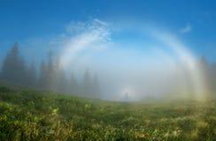 Montagne carpatiche Foschia bianca dell'arcobaleno del fantasma di Brokensky doppia Immagine Stock Libera da Diritti