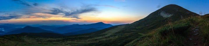 Montagne carpatiche Goverla di panorama Fotografie Stock Libere da Diritti