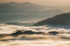 Montagne carpatiche Montagne coperte in foschia ad alba Fotografie Stock Libere da Diritti