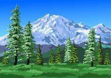 Montagne con gli alberi Immagini Stock Libere da Diritti