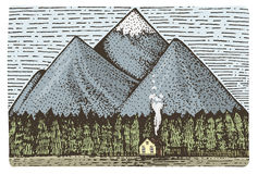 Montagne con la casa e la foresta incise, illustrazione disegnata a mano nello stile di scratchboard dell'intaglio in legno, dise Fotografie Stock