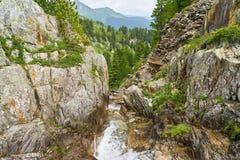 Montagne con la corrente nelle alpi di estate Fotografie Stock Libere da Diritti