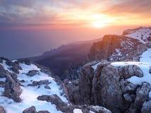 Montagne con neve Immagine Stock