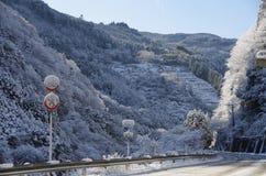 Montagne coperte di neve Fotografia Stock