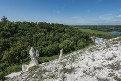 Montagne cretacee, foresta verde e vaste estensioni all'orizzonte in Divnogorje fotografia stock