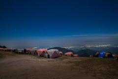 Montagne d'angkhang de Doi de vue de nuit Images stock
