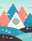 Montagne d'annata e paesaggio delle colline con le tracce, gli alberi, le tende ed il segno del campo Fotografia Stock