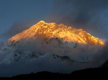Montagne d'or de neige Images stock