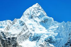 Montagne d'Everest de crête de montagne la plus haute au monde Parc national, Népal Images stock