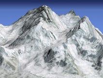 Montagne d'Everest, vue 3d satellite Photo stock