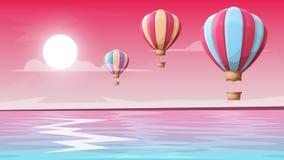 Montagne d'horizontal Ballon à air Image stock