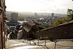 Montagne de Bueren staircase in Liege in Belgium. View of Montagne de Bueren, a 374-step staircase in Liege, Belgium with the view of the city Royalty Free Stock Photo