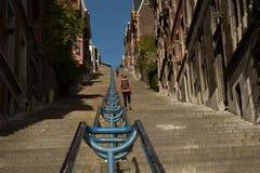 Montagne DE Bueren trap in Luik in België Stock Fotografie