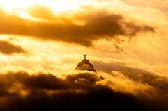 Montagne de Corcovado avec le Christ la statue de rédempteur Images libres de droits