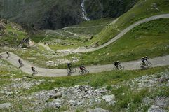 montagne de cyclistes Photo libre de droits