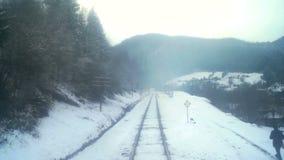 Montagne de forêt d'hiver de mouvement de train clips vidéos