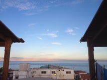 Montagne de lune de paysage marin Photo stock