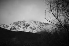Montagne de neige en noir et blanc Photographie stock libre de droits