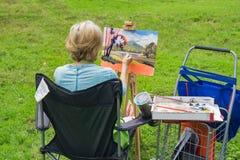 Montagne de Painting Sharp Top d'artiste et lac Abbott images libres de droits