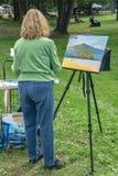 Montagne de Painting Sharp Top d'artiste et lac Abbott image stock