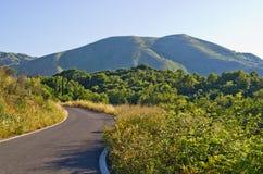 Montagne de Pantokrator sur l'île de Corfou, Grèce Images libres de droits