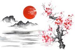 Montagne de peinture japonaise traditionnelle Sakura Lake de Sun d'art du Japon Sumi-e Photographie stock