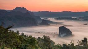 Montagne de Phulangka avec la brume et lever de soleil dans la province de Payao, thaïlandaise photographie stock