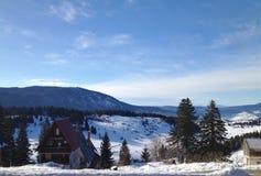 Montagne de Vlasic en hiver - vue de paysage avec une cabine franche photographie stock