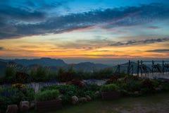 Montagne de vue de paysage de balcon Photo stock