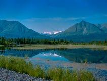 Montagne de Wrangell-St Elias reflétée dans un lac Photo libre de droits