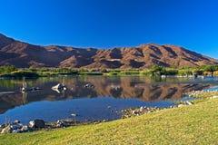 Montagne del deserto attraverso il fiume arancio fertile Fotografie Stock