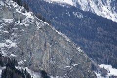 Montagne del granito coperte di neve e di foresta di inverno vicino a Mont Blanc Alpes, Italia Fotografia Stock Libera da Diritti