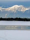 Montagne del lago Zell e delle alpi Fotografia Stock Libera da Diritti