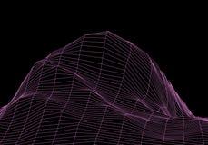 Montagne del paesaggio di Wireframe 3D Cartografia futuristica 3D Cavo del paesaggio di Wireframe Griglia del Cyberspace illustrazione di stock